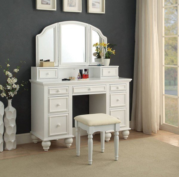 Best Furniture Of America Athy White Vanity With Stool The With Pictures