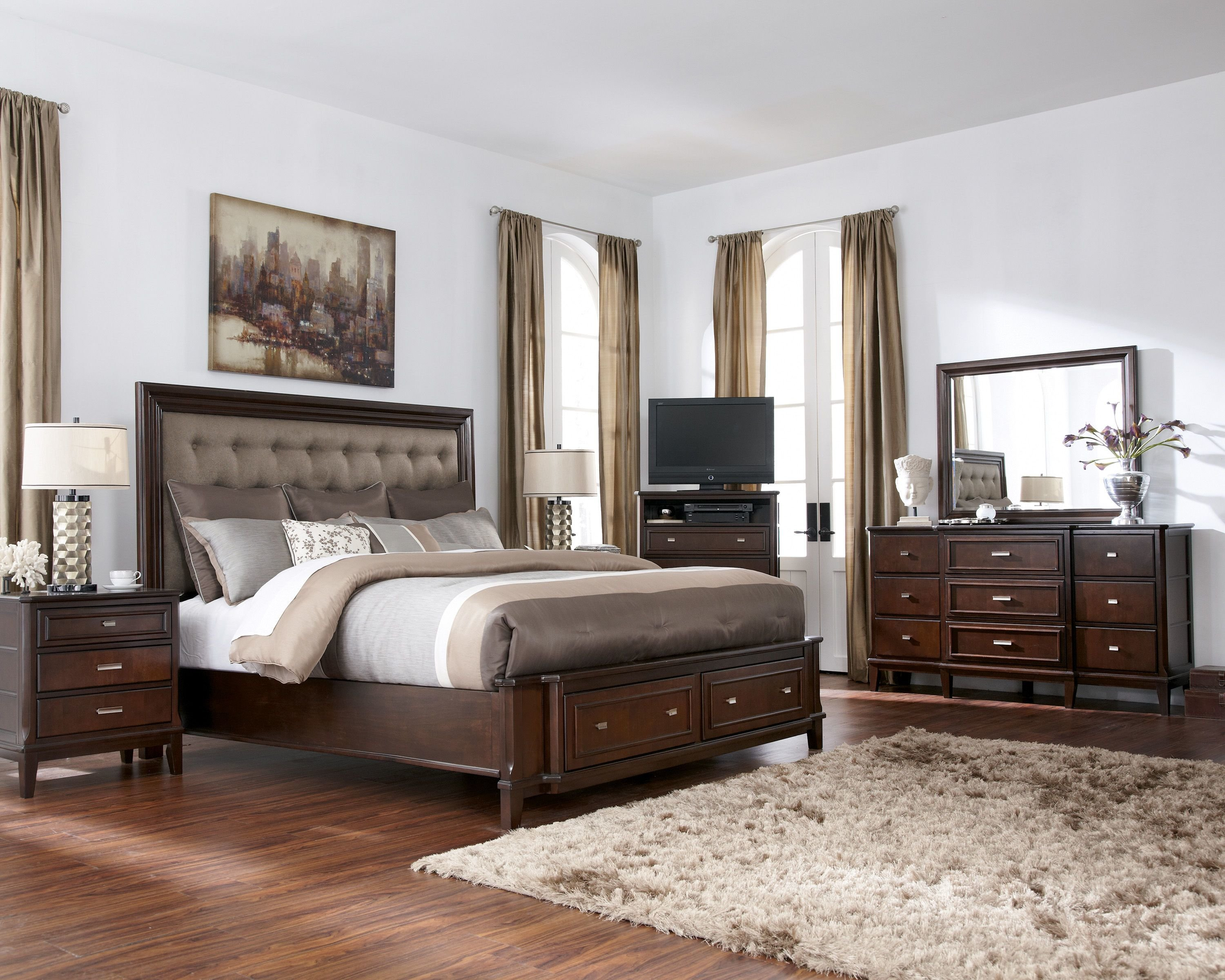 Best Larimer Contemporary Brown 5Pc Bedroom Set W Queen Storage With Pictures