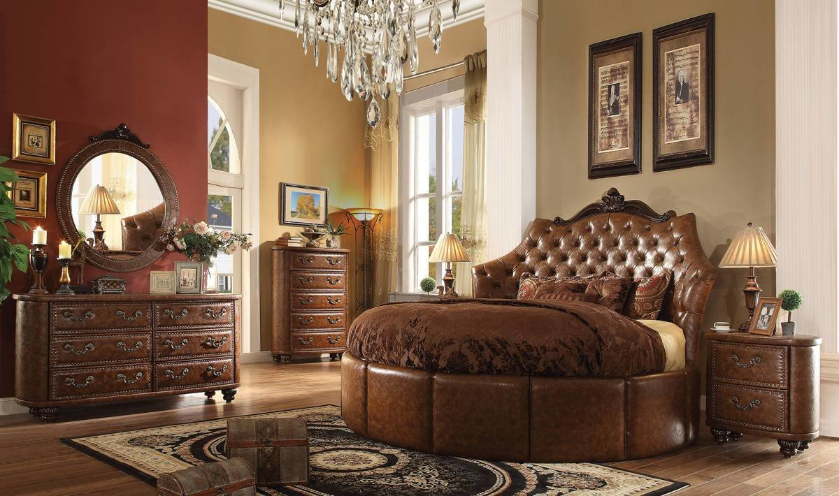 Best Varada Crescent Brown Cherry Pu Round 5Pc Bedroom Set W 87 With Pictures