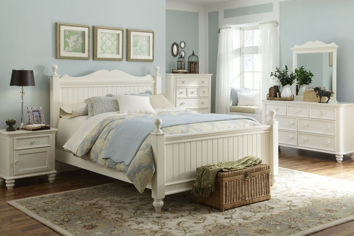 Best Summer Breeze Cottage 4Pc Bedroom Set W Queen Low Poster With Pictures