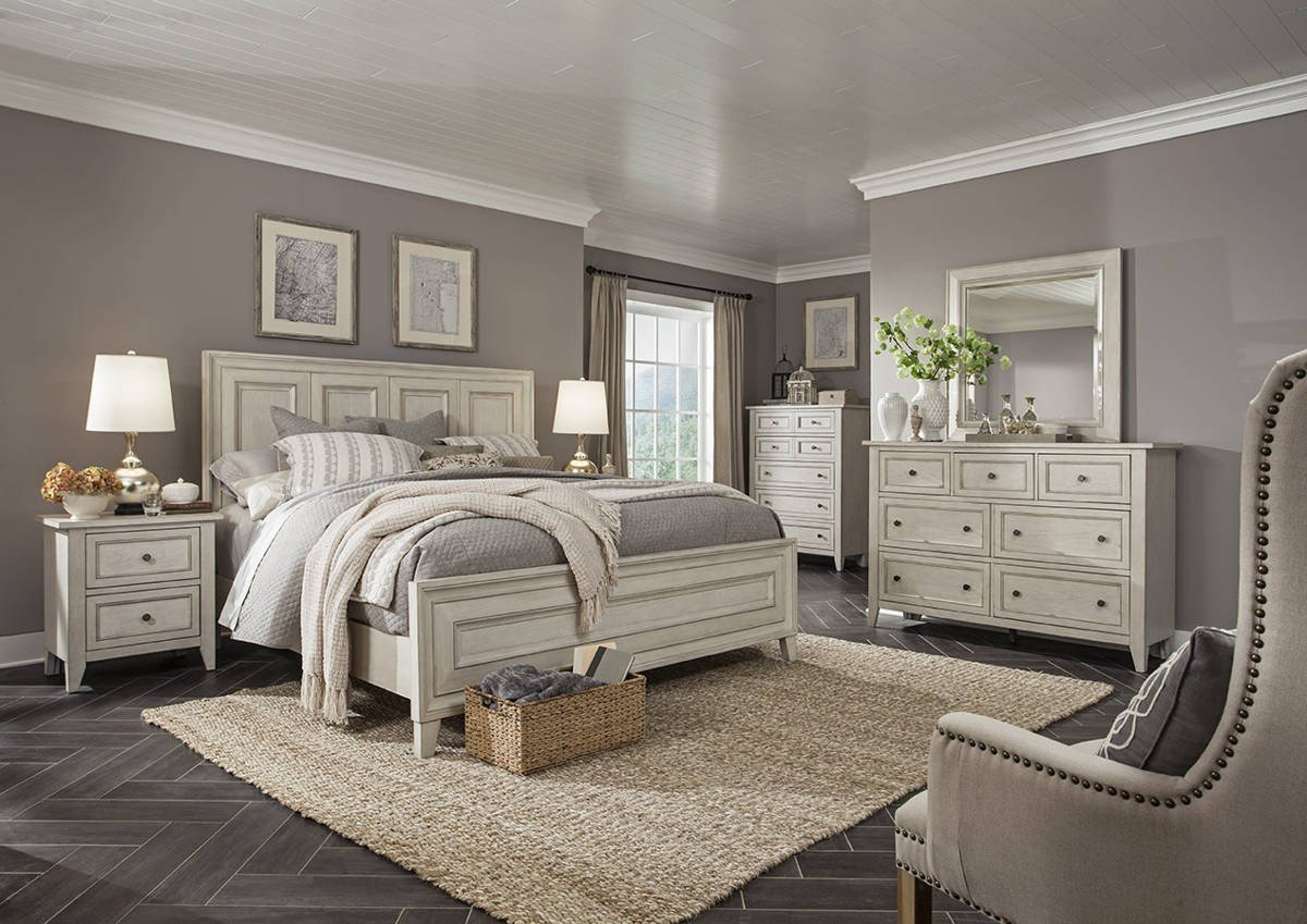 Best Raelynn Traditional Weathered White Solid Wood Master Bedroom Set The Classy Home With Pictures