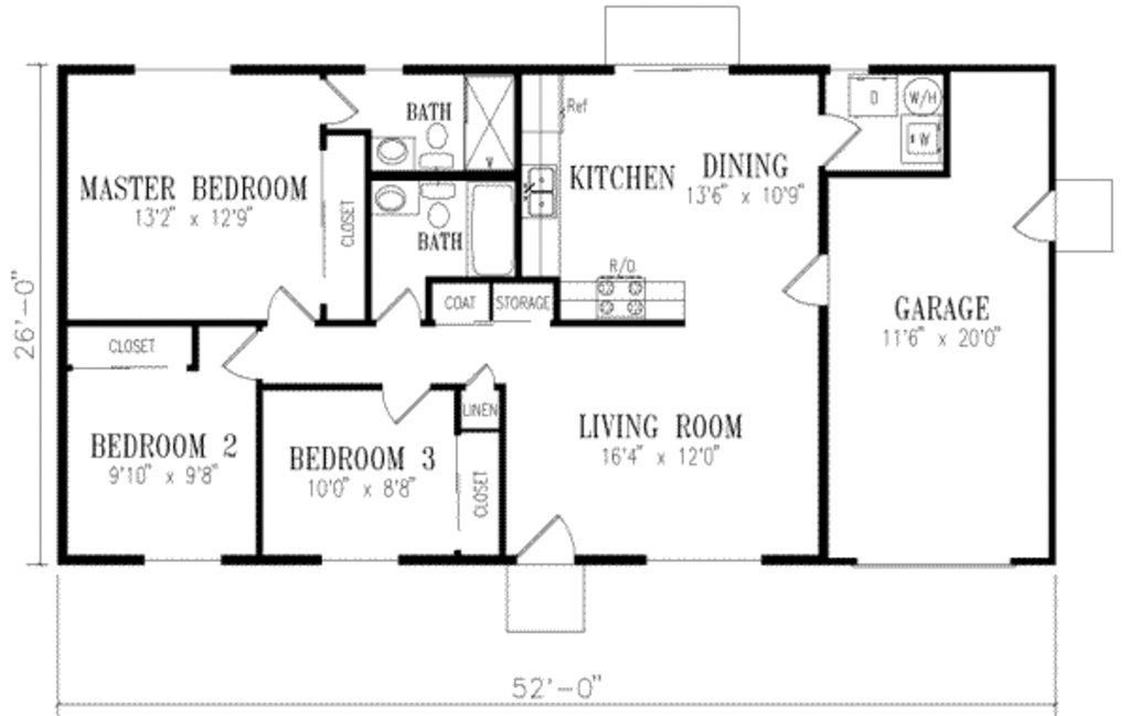 Best Ranch Style House Plan 3 Beds 2 00 Baths 1046 Sq Ft Plan 1 152 With Pictures Original 1024 x 768