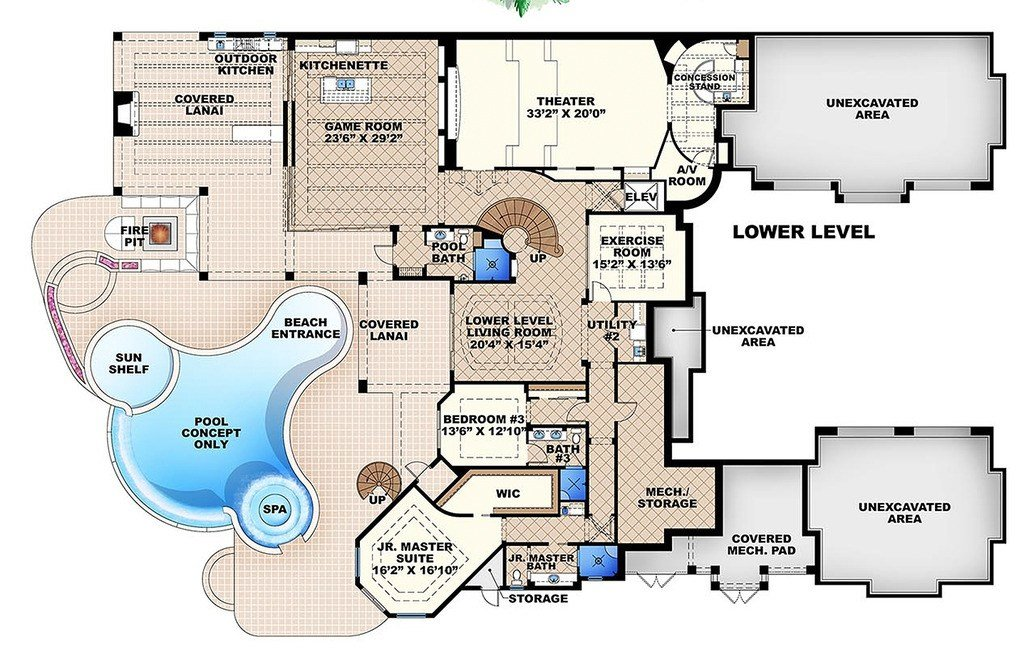 Best Mediterranean Style House Plan 6 Beds 7 50 Baths 11672 Sq Ft Plan 27 466 With Pictures