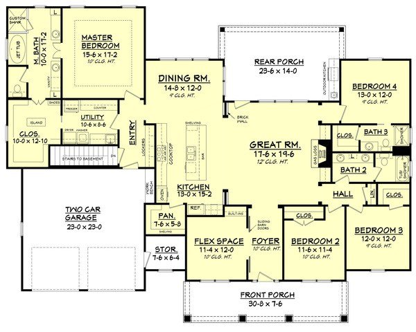 Best Craftsman Style House Plan 4 Beds 3 Baths 2639 Sq Ft With Pictures