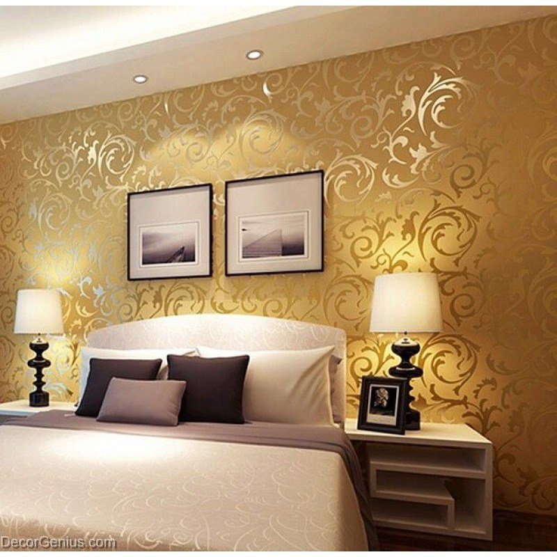 Best Popular 3D Design Dk Gold Bedroom Wallpaper Modern Style With Pictures