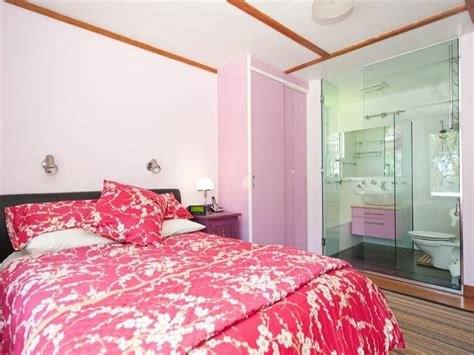 Best Pink Bedroom With Glass Wall Between Bathroom Hooked On With Pictures