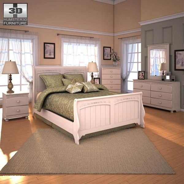 Best Ashley Cottage Retreat Sleigh Bedroom Set 3D Model With Pictures