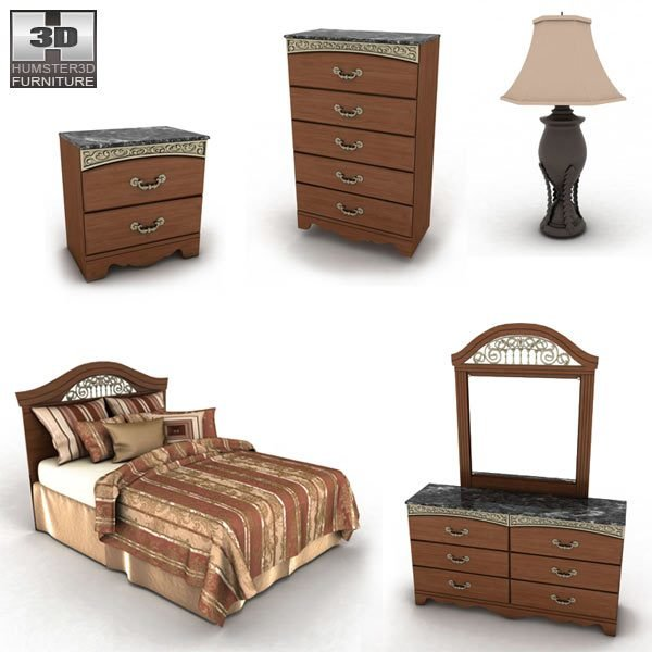 Best Ashley Fairbrooks Estate Panel Bedroom Set 3D Model With Pictures
