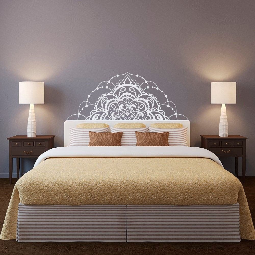 Best Half Mandala Wall Decal Headboard Wall Decal Half Mandala With Pictures