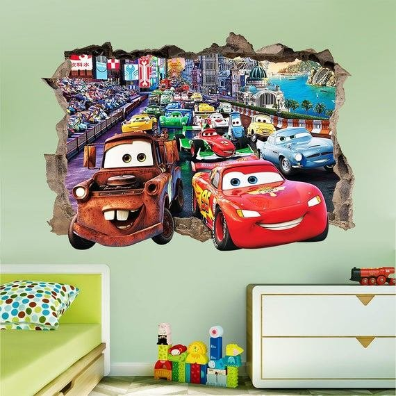 Best Disney Cars 3D Wall Sticker Smashed Bedroom Kids Decor Vinyl With Pictures