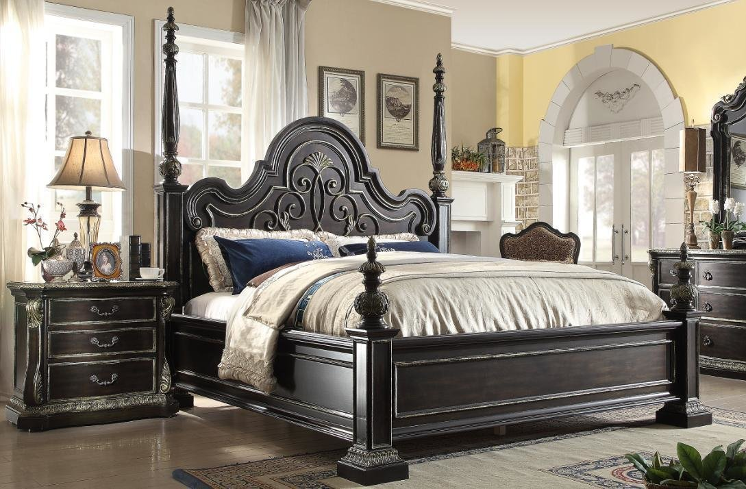 Best Mcferran B5189 Ek Ebony Gothic Eastern King Poster Bedroom With Pictures