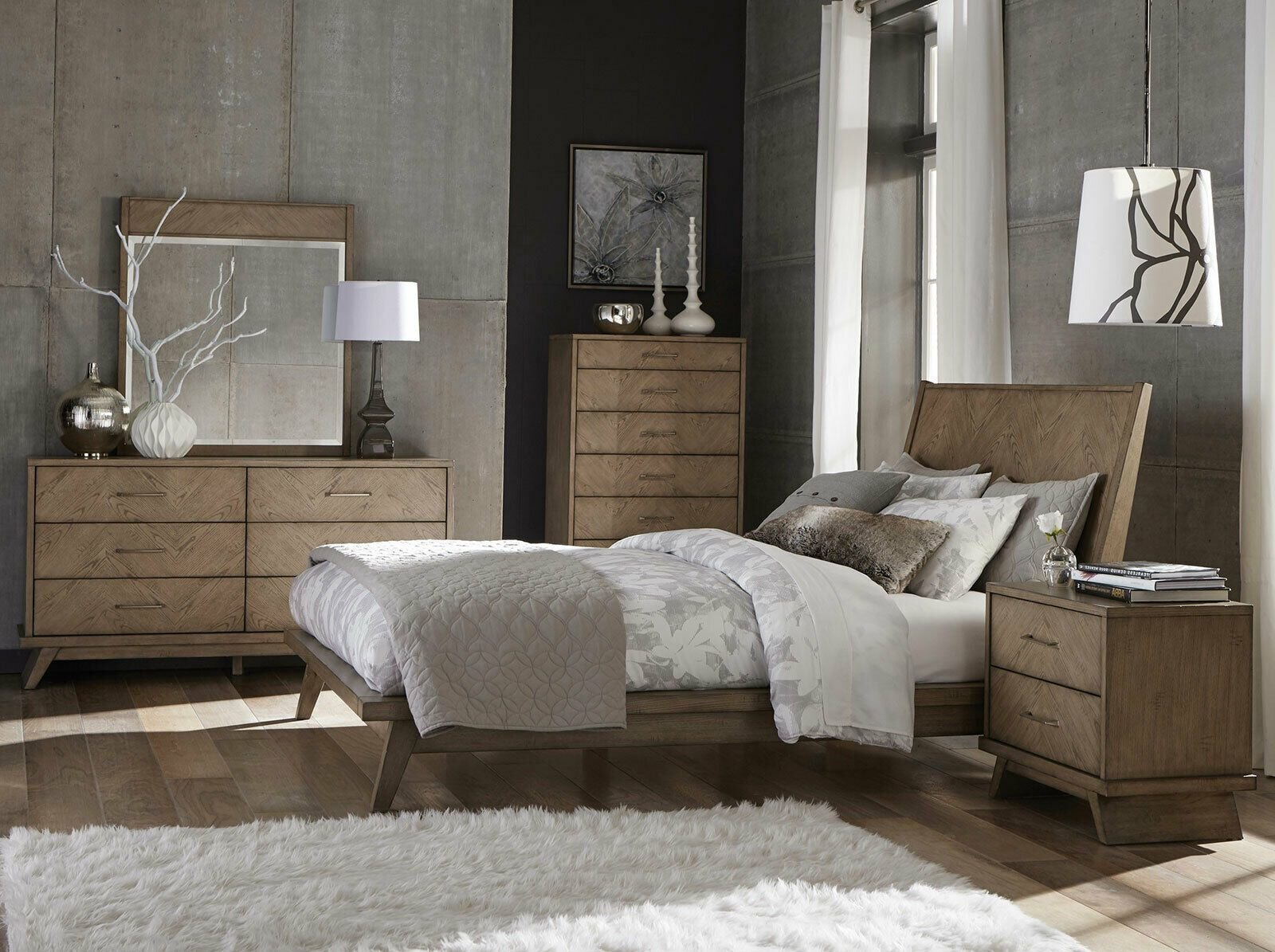 Best Claret 5 Piece Modern Natural Brown Solid Wood Bedroom Set With Pictures