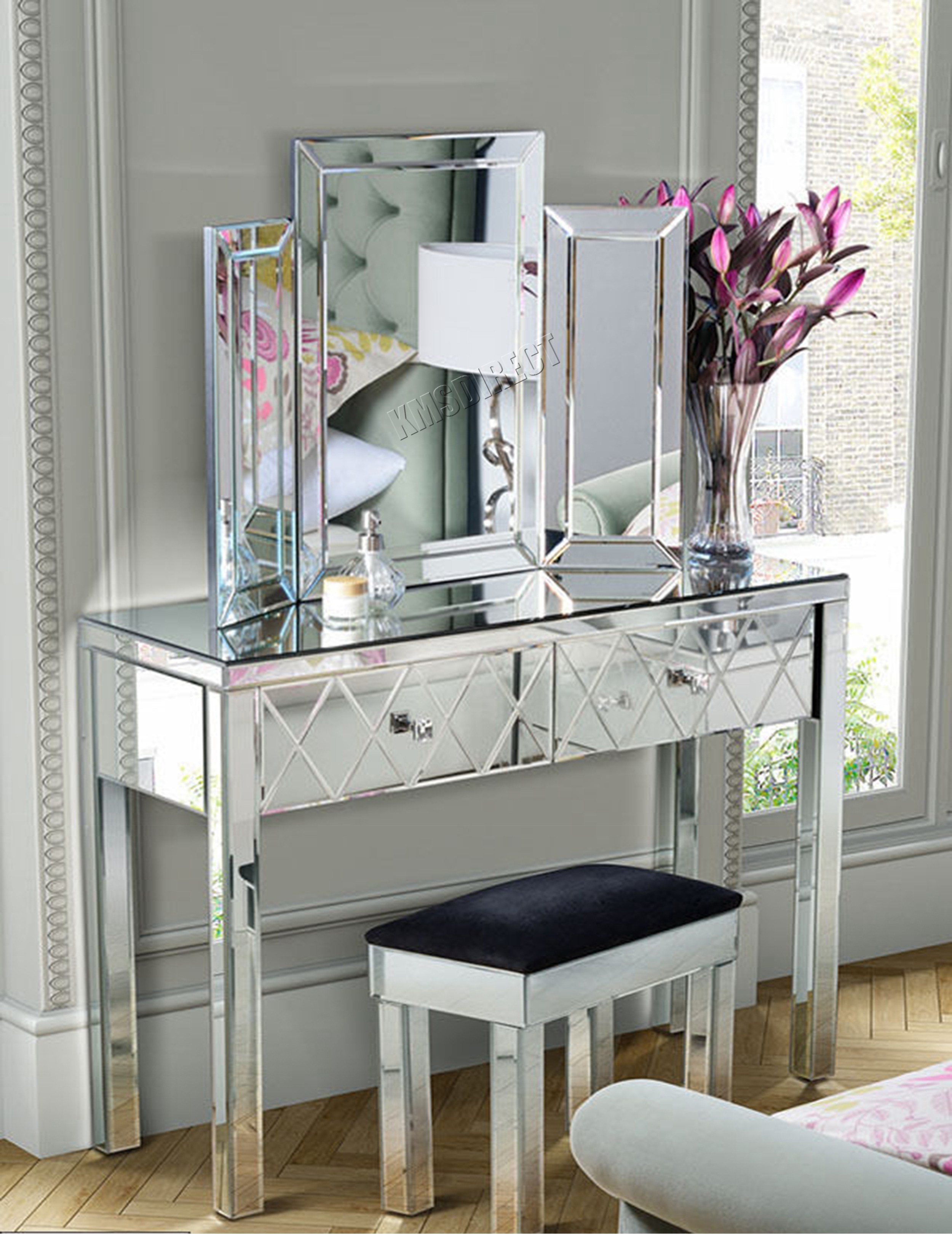 Best Westwood Mirrored Furniture Glass Dressing Table With With Pictures