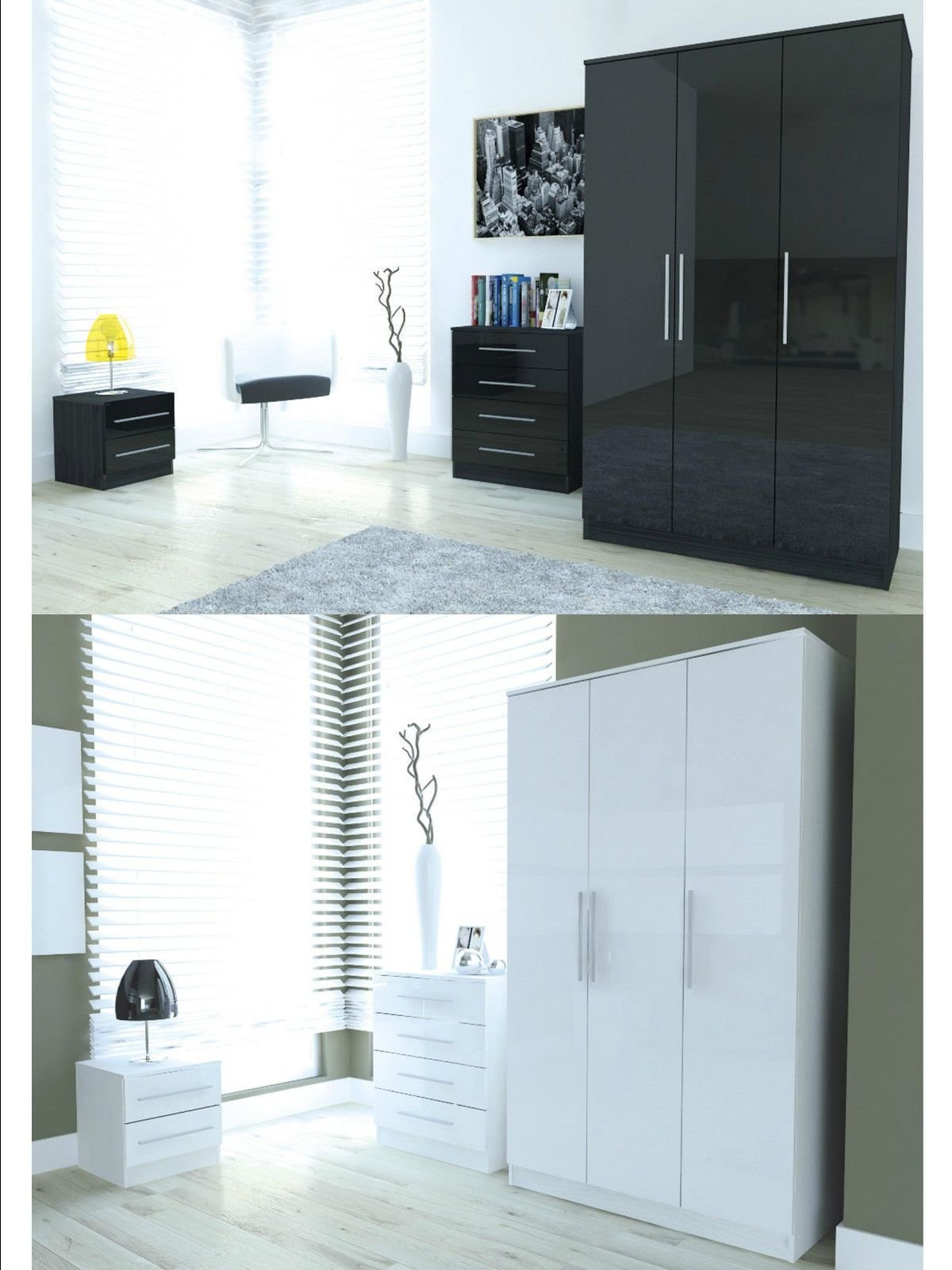 Best Toronto Caspian Black White High Gloss Bedroom Furniture Wardrobe Chest Bedside Ebay With Pictures
