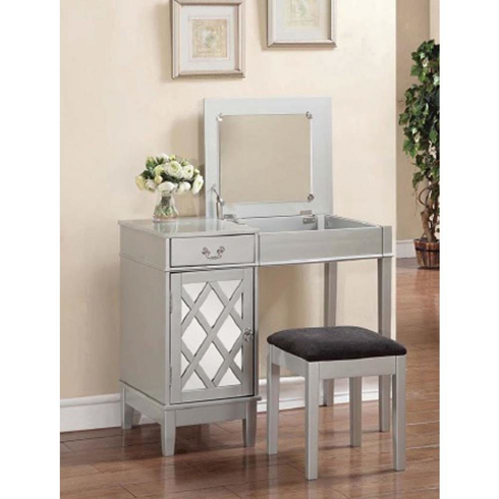 Best Linon Home Decor 2 Piece Silver Vanity Set 58036Sil 01 Kd With Pictures
