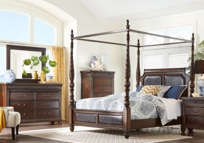 Best Cindy Crawford Home Trinidad Walnut 8 Pc Queen Canopy With Pictures