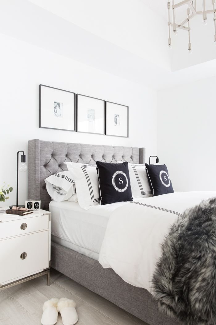 Best Grey Tufted Headboard Light And Bright Bedroom Home With Pictures