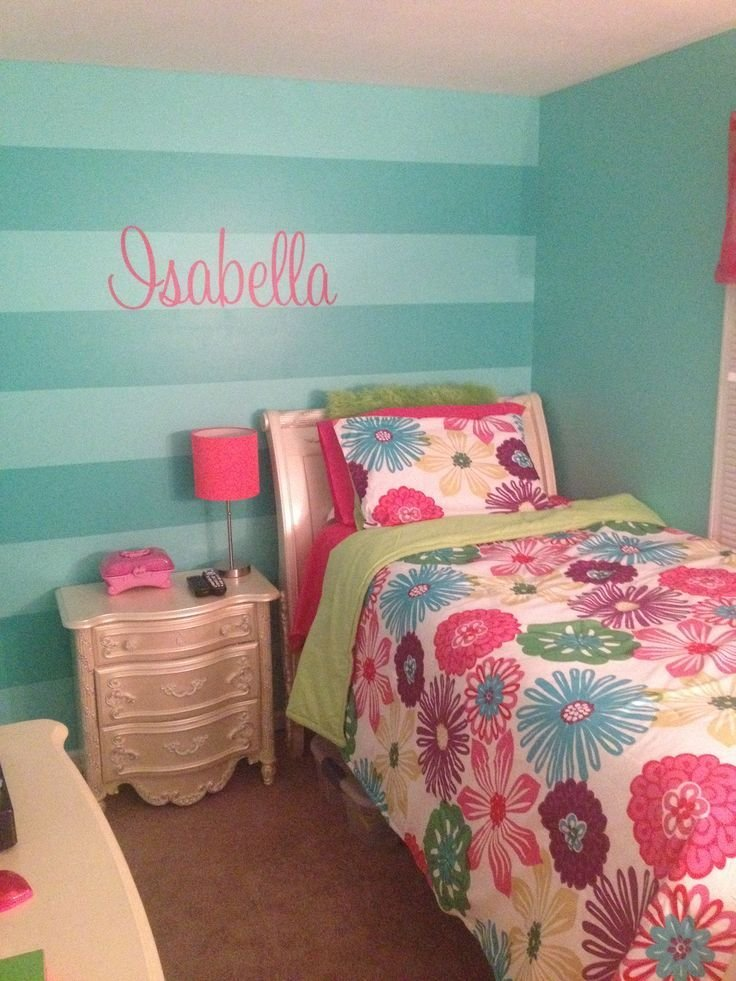 Best Girls Teal Stripe Wall And Isabella Wall Decal From Etsy With Pictures