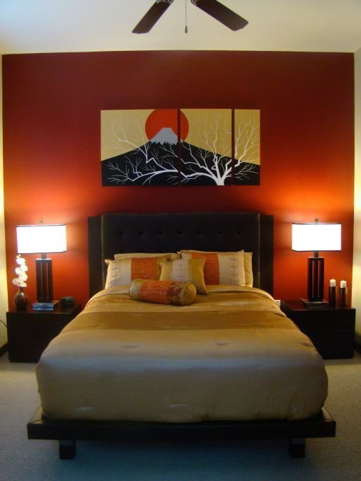 Best White Ceiling Orange Paint Wall Zen Bedroom Ideas With With Pictures