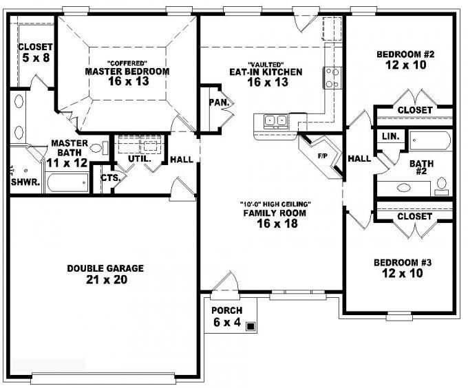 Best 653788 One Story 3 Bedroom 2 Bath French Traditional Style House Plan House Plans Floor With Pictures