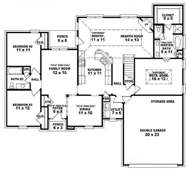 Best Single Story Open Floor Plans One Story 3 Bedroom 2 Bath French Traditional Style House With Pictures