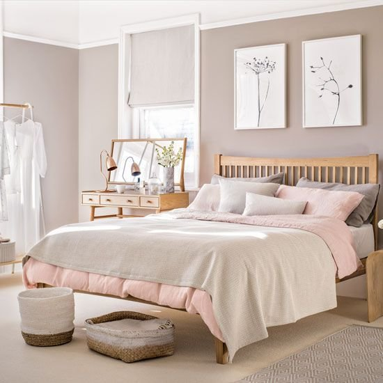 Best Pale Pink Bedroom With Wooden Furniture And Woven With Pictures