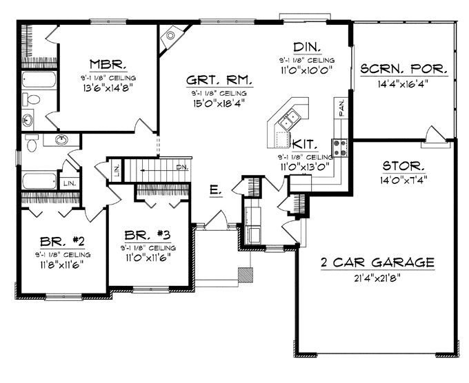 Best Floor Plans Aflfpw76173 1 Story Craftsman Home With 3 With Pictures