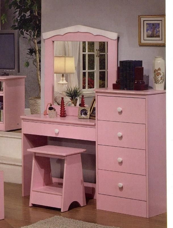 Best Princess Pink Finish Girls Kids Vanity Dresser With Mirror With Pictures