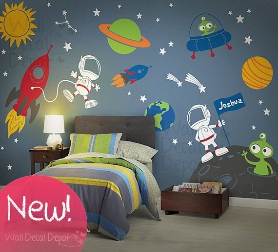 Best Space Wall Decal Planets Astronaut Boy Galaxy With Pictures