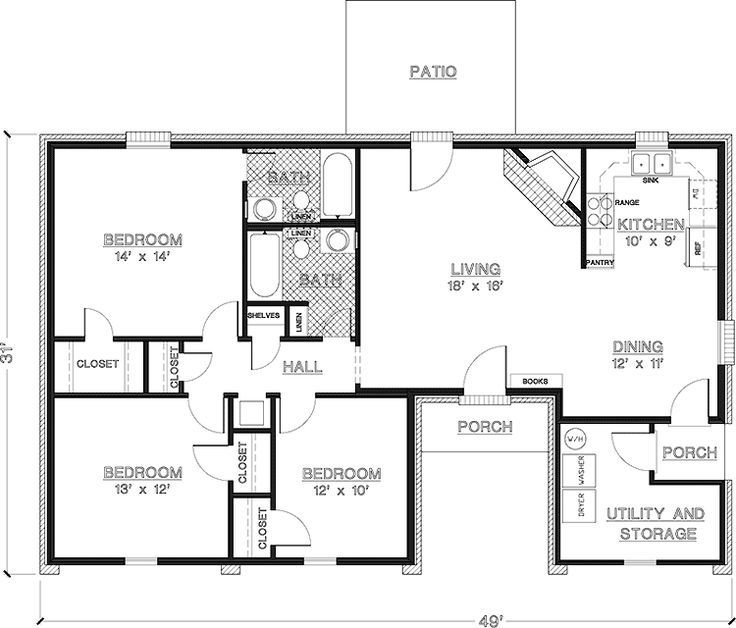 Best 2 Bedroom House Plans 1000 Square Feet Home Plans Homepw26841 1 200 Square Feet 3 Bedroom 2 With Pictures