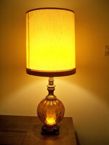 Best Vintage Mid Century Modern Amber Table Lamp With Night With Pictures