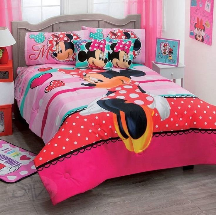Best Disney Minnie Mouse Amor Love Red Dress Pink Comforter Double Sided Sheet Set Comforters With Pictures