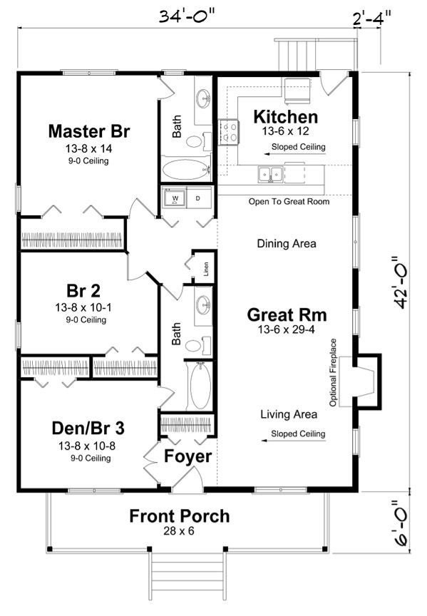 Best Rectangle House Plan With 3 Bedrooms No Hallway To Maximize Space Dream Home In 2019 With Pictures