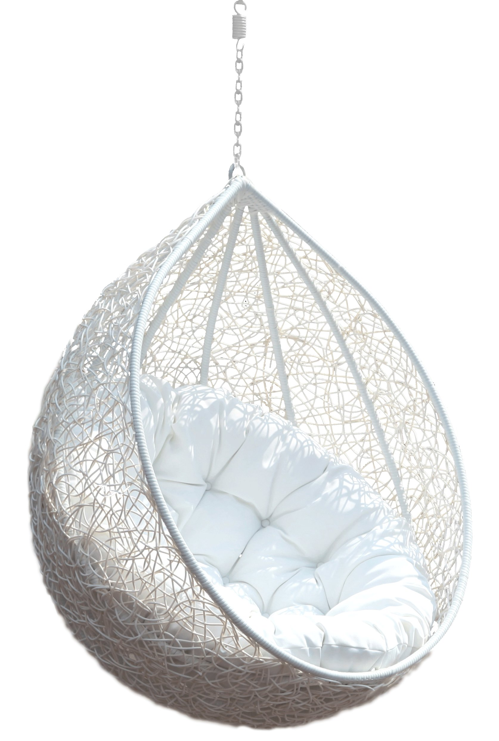 Best Hanging Chair Rattan Egg White Half Teardrop Wicker With Pictures