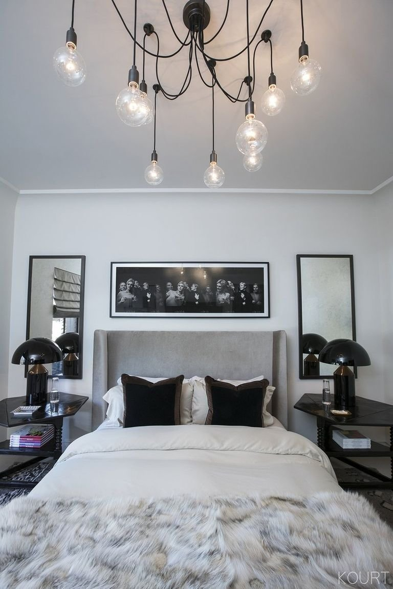 Best Kourtney Kardashian S Guest Bedroom Grey Headboard Black Decor Decor In 2019 Bedroom Decor With Pictures