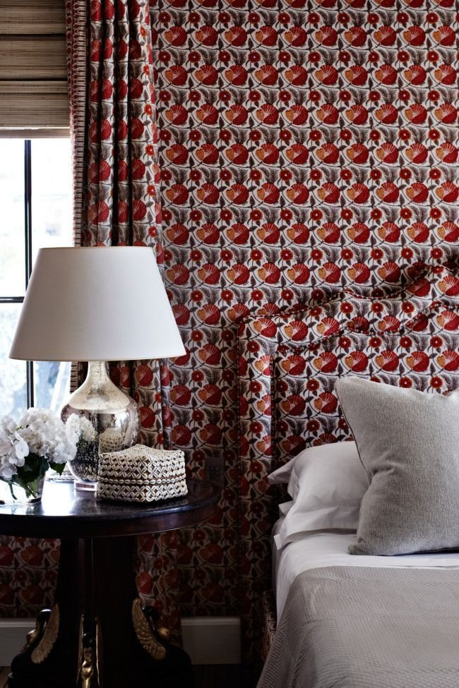 Best Fabric Headboard And Wallpaper Match Via Vogue With Pictures