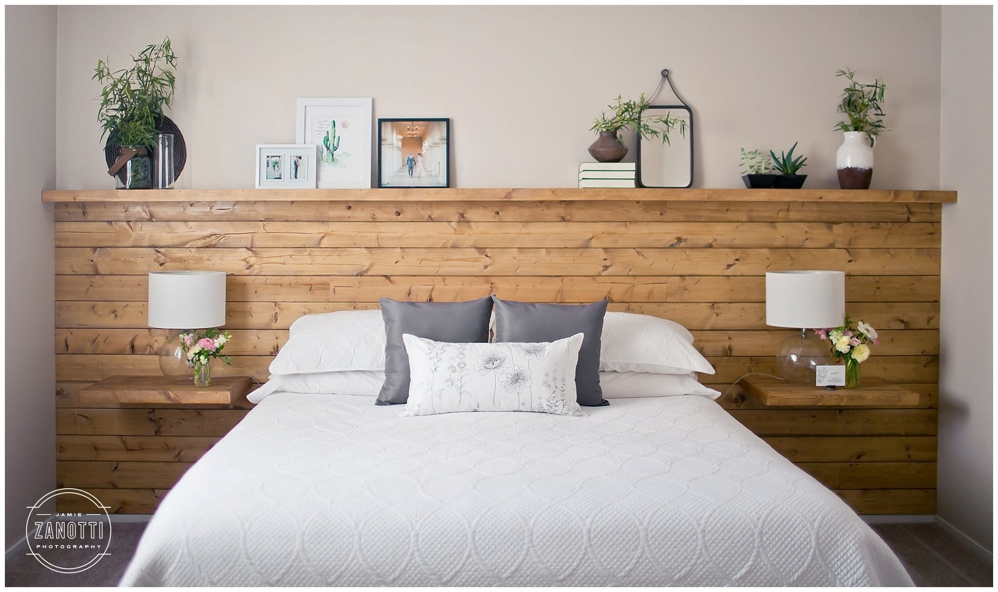 Best Natural Wood Diy Shiplap Headboard Wall Shelf Floating With Pictures