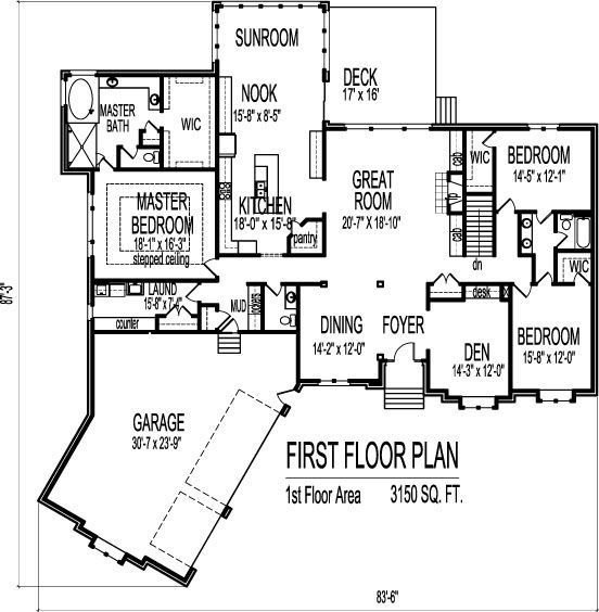 Best Image Result For 4 Bedroom 3 Bath Single Story House Plans With Pictures