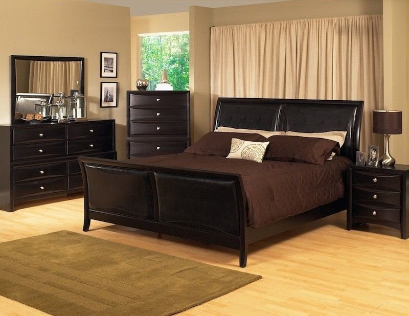 Best King Size Black Modern Sleigh Bedroom Set W Padded Leather With Pictures