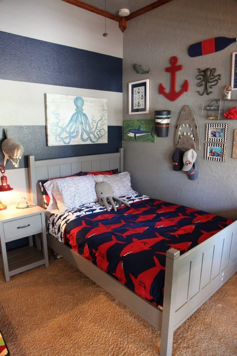 Best Shark Themed Boy S Room In 2019 Big Boy Rooms Nautical With Pictures