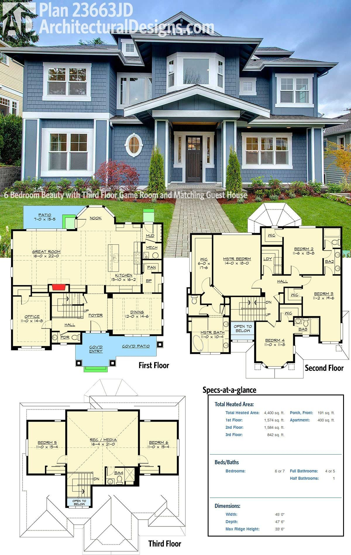 Best Plan 23663Jd 6 Bedroom Beauty With Third Floor Game Room With Pictures