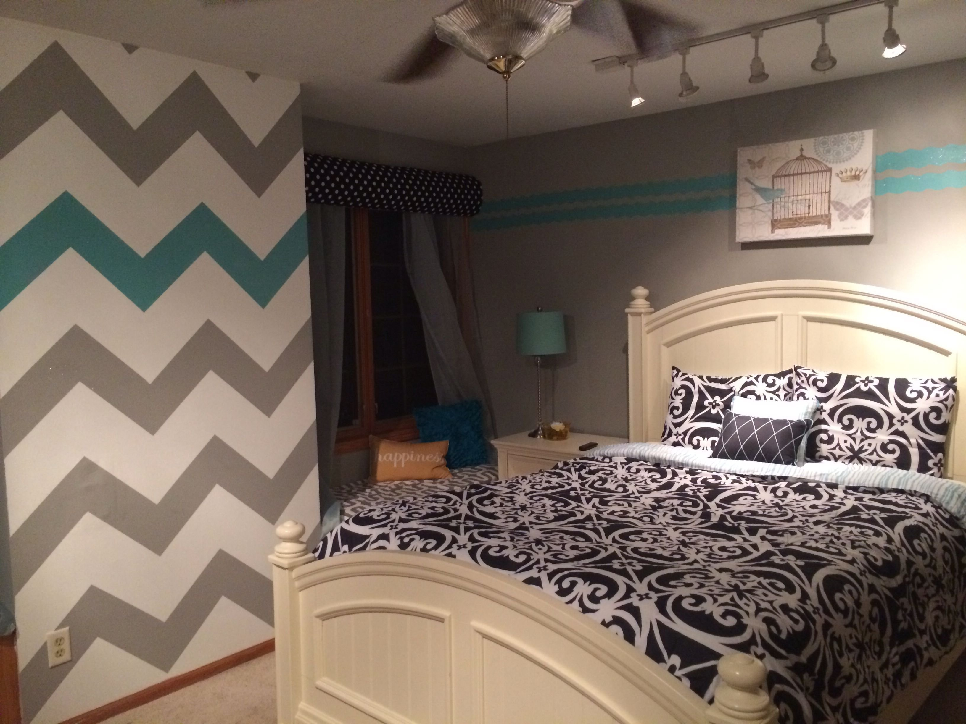 Best T**N Girl Room Chevron Wall Blue Gray D R E A M B E D R With Pictures