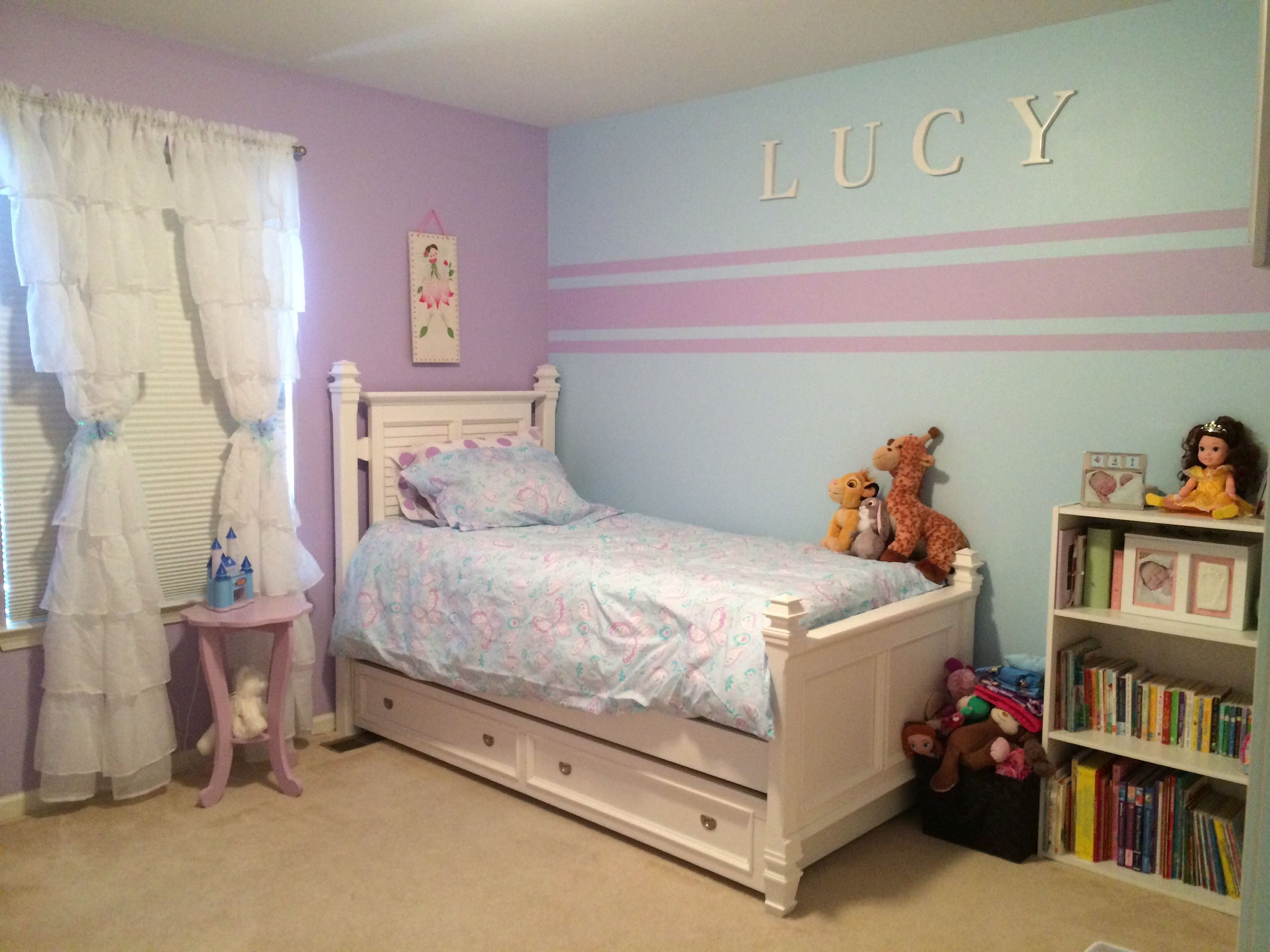 Best Accent Wall Stripes For Little Girl Room Kristin Duvet With Pictures