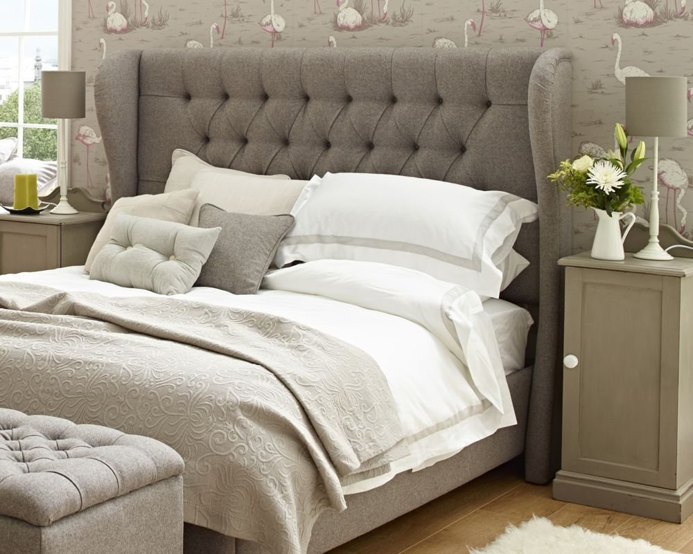 Best Winged Iona Super King Upholstered Headboard Wool Plain With Pictures