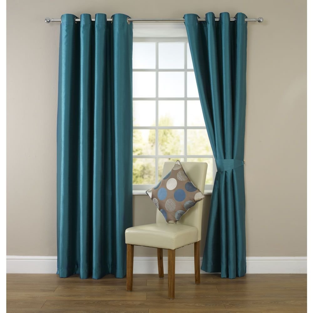 Best Wilko Faux Silk Eyelet Curtains Dark Teal For The Living With Pictures