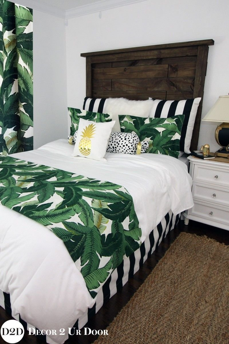 Best Palm Leaf Black White Stripe Apartment Bedding Set Rooms Bedroom Decor Tropical Bedrooms With Pictures
