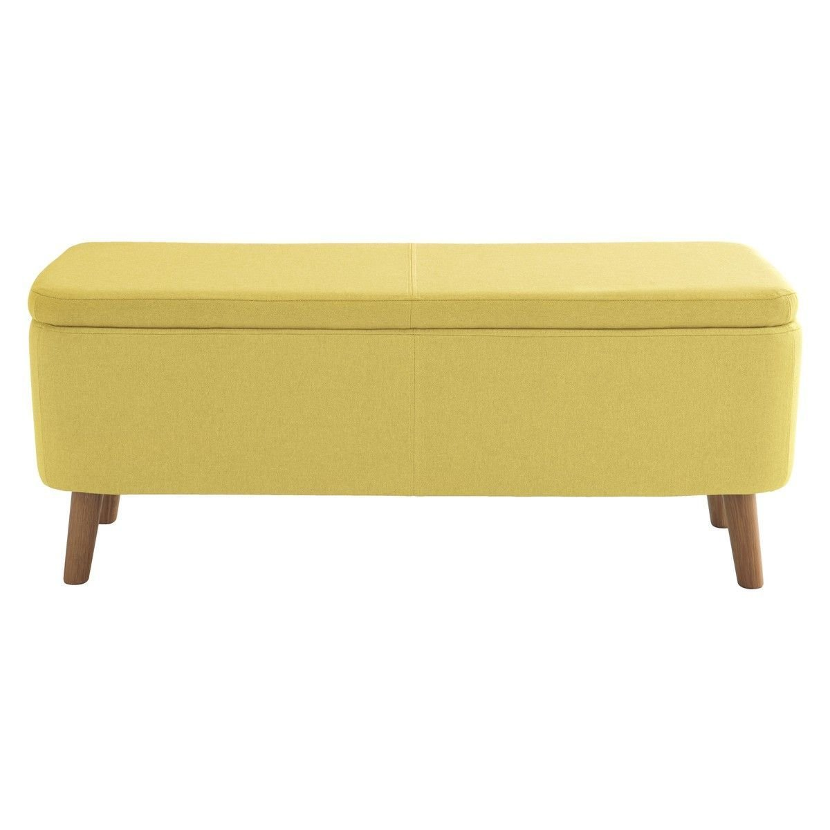 Best Jacobs Saffron Yellow Upholstered Storage Bench New With Pictures