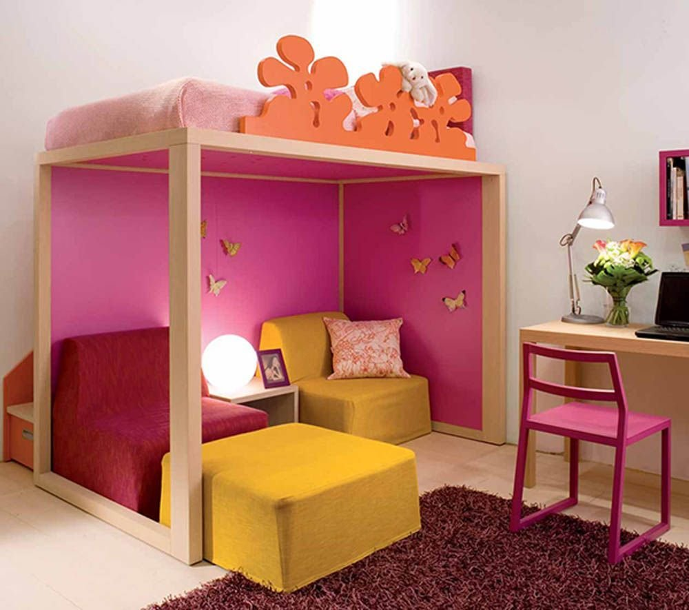 Best Nice Kids Bedroom Decor With Wooden Loft Bed Red Fur Rug With Pictures