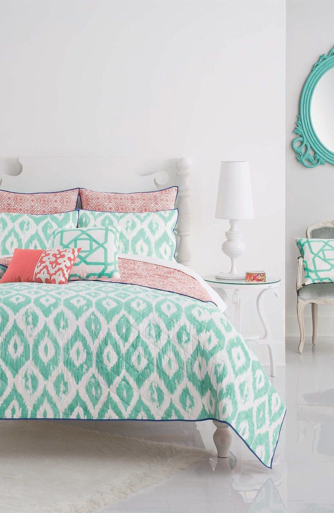 Best Loving The Turquoise And Coral Bedding Paired Together For A Bright And Fun Look In The Bedroom With Pictures