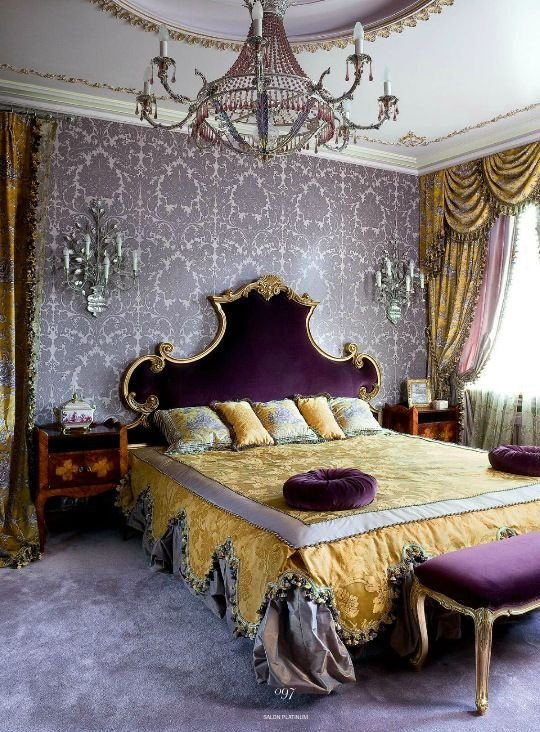 Best Baroque Style Bedroom With Lavender Damask Wallpaper With Pictures